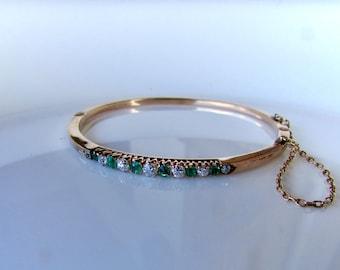 ANTIQUE EMERALD BANGLE  diamond and sapphire vintage bangle