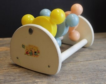 Vintage 1950's Celluloid Rattle Spin toy // Wood Frame with Bear Decals