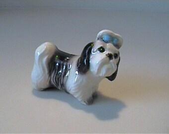Vintage Hagen Renaker miniature Shih Tzu dog with blue bow