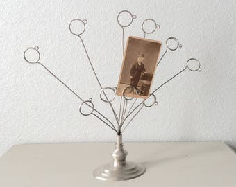 Vintage Card Tree / Picture Tree Photo Tree Card Holder / Silver Metal Display Stand With Adjustable Arms / Shabby Chic Prop