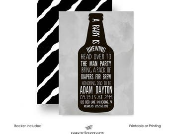 Beer Belly Baby Shower Invitation -- Dadchelor Party  -- Boys or Girls -- Beer for Diaper Shower -- Custom Printable Invites or Printing