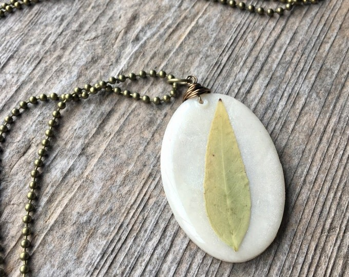 Large Oval Real Jasmine Leaf Pendant Necklace