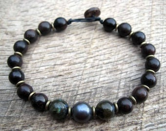 Mens bracelet, genuine black pearl, freshwater pearl, labradorite, wood and brass beads, mens beaded bracelet, on strong cord, toggle clasp