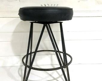 Vintage Midcentury Stool Bar Stool Black Metal Round Vinyl Seat Retro