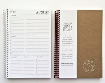 2017 Weekly & Monthly Planner SMALL | 12 Months | Agenda