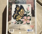"Vintage 1988 Latch Hook Kit Monarch Butterfly 12"" x 12"""