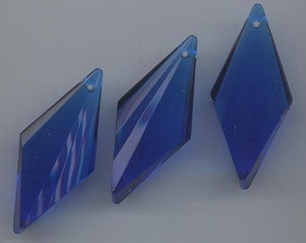 Three beautiful acrylic pendants made in Germany - sapphire - spear-shaped - 45 x 20 mm