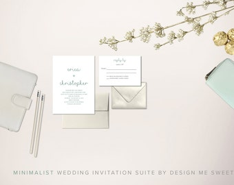 Modern Minimalist Wedding Invitation Suite by Design Me Sweet