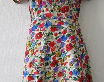 Floral Multicolored Short Sleeved Dress