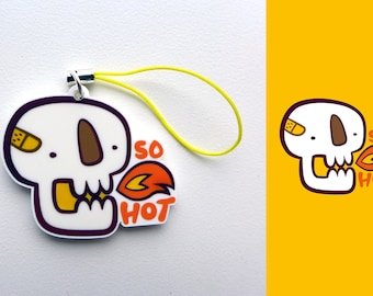 Acrylic Hot, Spicy, Fire, Firey, Skull Skeleton Charm Keychain with Phone Strap