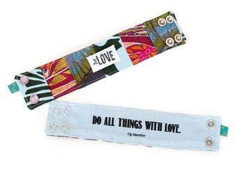 Inspirational fabric bracelet, unique inspirational bracelet with secret interior quote, Be Love Patchwork Cuff Bracelet in Jewel Tones