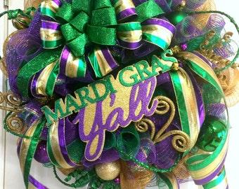 Extra Large Deco Mesh Mardi Gras Wreath - Fat Tuesday Wreath - Mardi Gras Decoration - Mardi Gras Party
