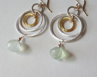 Prehnite Gold Filled, Gold Vermeil and Sterling Silver 4 Hoop Earrings