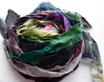 15 hand dyed silk ribbons approx 1m each mix of texture/colour - FR77