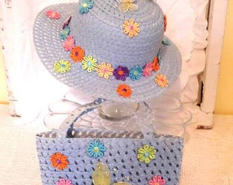 Flower Power Girl Tea Party Hat & Purse, Child Easter Hat, Dress-up Hat,