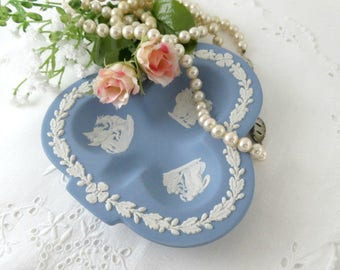 Wedgwood Pale Blue Jasperware, Trinket Dish, Club Shaped Ashtray Made in England, Vintage Stoneware Dish, Vintage Collectible