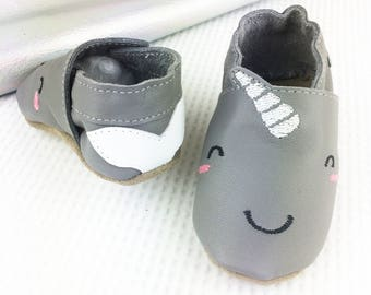 Personalised Narwhal Baby Shoes - Narwhal Children's slippers - First birthday gift - new baby gift - personalised baby gift