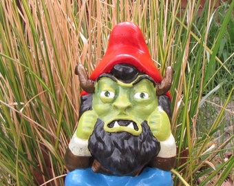 Goblin yard art altered gnome sculpture