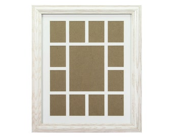 craig frames 12x16 inch whitewash picture frame single white collage mat with 13 openings 529121601c32a