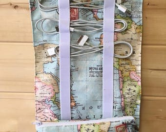 Travel cable tidy organiser Father's Day gift handmade travel Storage cable tidy