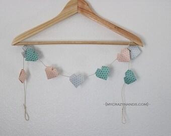 origami 3D heart garland | nursery garland | nursery decor || heart banner || heart bunting -honeycomb pink gray teal