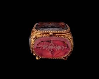 Antique Victorian Engraved Glass Casket, French Gilt Ormolu Jewellery Vitrine, Ring Display, Home Decor, Token of Love