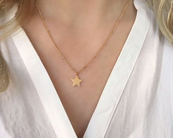 Star necklace silver,Delicate silver chain,Delicate gold chain,star necklace,star necklace gold,delicate gold jewelry,bar necklace gold,