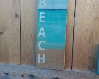Painted Board Sign,BEACH,Beach Scene, ocean water, horizon, teal, Painted Wood, Wall sign, Seashells, beach sign, beach house, sun surf sand