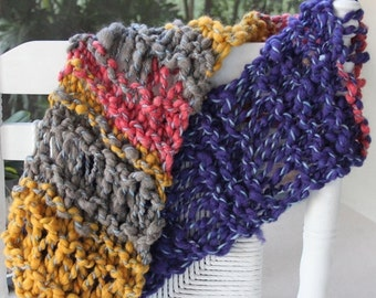 CLEANING SHOP 33% OFF Sale Beautiful Hand Knit Scarf,  Multi color, Blue, Pink, Yellow, of  Super Soft Handspun Hand Dyed Bulky Yarn
