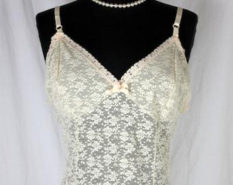 Vintage Vanity Fair Full Slip Lots of Lace 38