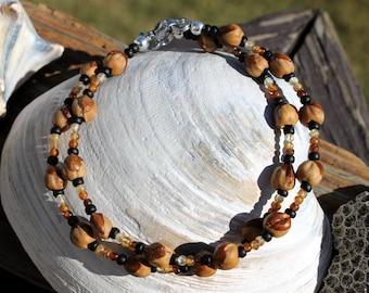 2 Navajo Bracelets, Ghost Beads/Natural Hessonite Garnet, Protection Charm, Ombre Colors, Cedar, Juniper Seeds, Friendship