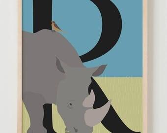 Animal Alphabet, R is for Rhino Fine Art Print