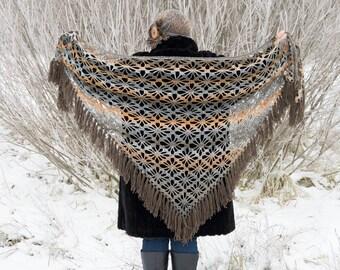 Crochet Shawl, Handmade Triangle Shawl, Winter Autumn Accessory, Brown Grey Orange, Gift for Her, Neck Warmer, Autumn Fall Trend, Soft Yarn