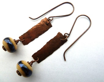 Handmade lampwork and copper earrings, UK jewellery