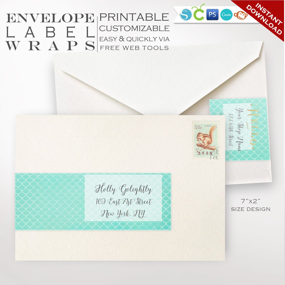 Envelope Wrap Labels Mermaid Printable Wrap Around Address