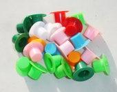 Colorful Mini Plastic Top Hats - 14mm x 25mm - 11 pcs
