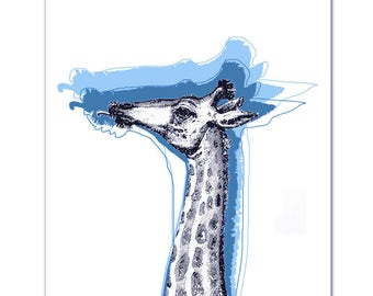 Mixed media Decorative art Animal painting drawing illustration portrait  print POSTER 8x10Cool Giraffe - BLUE