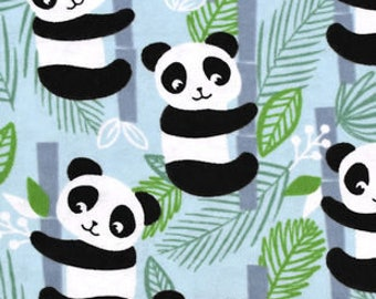 Snuggle Flannel Fabric - Happy Pandas - 34 inches