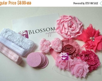 HOLIDAY SALE DIY Headband Making Kit - Pretty in Pink Collection - Chiffon Frayed Flowers - Shabby Rose Trim - Flower Headbands - Pink Hot P