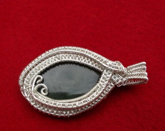 Nephrite Jade Wire Wrapped & Woven Pendant