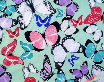 One Yard Shabby Chic Fabric Plain Cotton Fabric, Retro Aque  Green Fabric Butterfly Fabric,Color butterfly Cotton Fabric(QT1058)