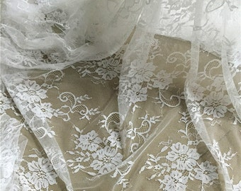 Bouquet,Floral Lace,Fabric,Embroidery,Wedding, White Color,Sewing,Bridal stretch fabirc - ONE Yard (W199)