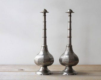 Boho home decor vintage etched incense burner set / tribal gypsy ethnic style home / finial shape engraved silver gray metal incense jar