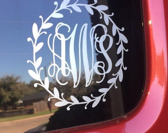Monogram Car Decal Car Decal for Women Vine Monogram in Twig Border Trendy Rustic Twig Frame Vinyl Car Decal Car Monogram Wreath Car Vinyl
