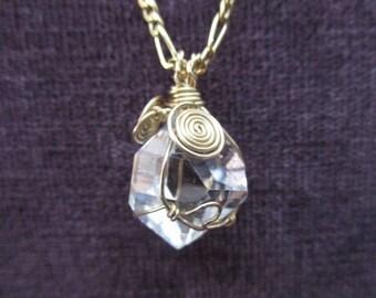 Wedding Gold Necklace Herkimer Diamond