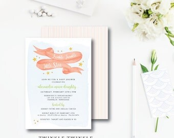 Twinkle Twinkle Printed Invitations | Baby Shower Invitation | Printed or Printable by Darby Cards