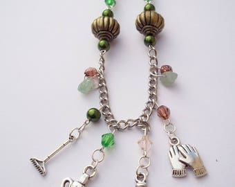 Garden themed beaded necklace