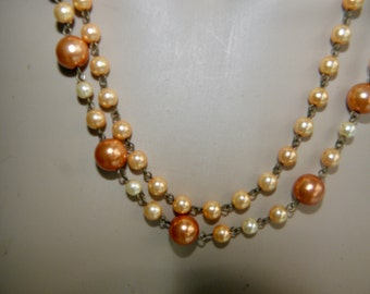 2 Strand Pearl Vintage Necklace, C.60's, Peach Colored Pearls, Silver Clasp