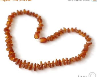 15% OFF Raw Unpolished Baltic Amber Baby Teething Necklace Cognac Color