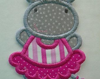 Dancing Ballerina Hippopotamus embroidered iron on applique  patch